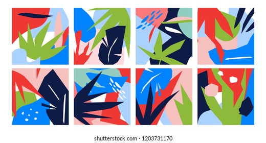 Floral Style Abstract Illustrations. Colorful, Botanical and Nature Design Elements.
