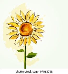 Floral summer background with sunflower. EPS10