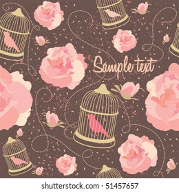 Floral summer composition. Birds with cages seamless vector