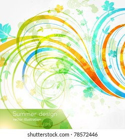Floral summer design elements with sun shine. Flower abstract bright background for retro summer design. Vector. eps 10