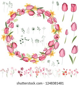 Floral summer elements with cute bunches of tulips, daffodils.  For romantic and easter design, announcements, greeting cards, posters, advertisement.
