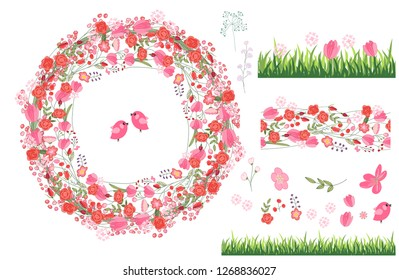 Floral summer elements with cute bunches of tulips, roses.  For romantic and easter design, announcements, greeting cards, posters, advertisement.
