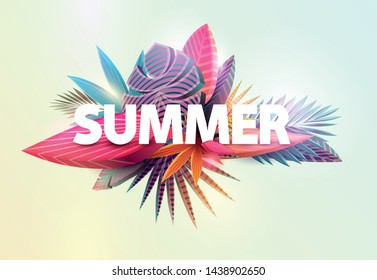 Floral summer poster design. Colorful tropical leaves