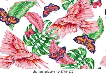 Floral summer seamless pattern background with tropical leaves, monstera leaf, parrots, exotic birds, butterflies. Vector botanical jungle illustration wallpaper