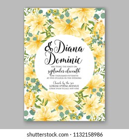Floral sunflower wedding invitation or greeting card/ Wreath of flower for marriage baby shower bridal shower invitation, party celebration vector printable template watercolor background