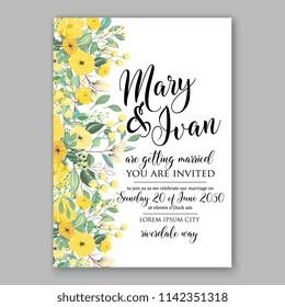 Floral sunflower wedding invitation vector template Rose peony ranunculus flower greenery bridal shower invitation background chrysanthemum