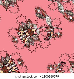 Floral sweet seamless background for textile, fabric, covers, wallpapers, print, wrap, scrapbooking, quilting, decoupage. Pretty vintage feedsack pattern in small pink, black, brown, gray flowers.