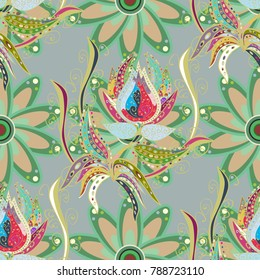 Floral sweet seamless background for textile, fabric, covers, wallpapers, print, wrap, scrapbooking, quilting, decoupage. Pretty vintage feedsack pattern in small gray, green and neutral flowers.