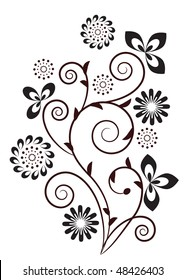 Floral swirl design element