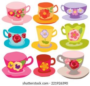Floral Tea Cups for Tea Party
