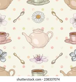 Floral tea cute seamless pattern