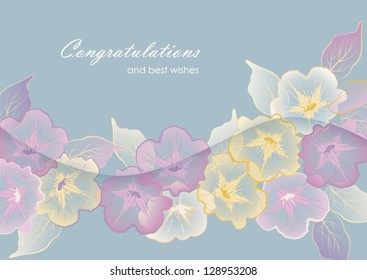 Floral template border vector design. Beautiful elegant transparent flowers and leaves, 'Congratulations and best wishes' text and wave banner with shadow in soft delicate pastel colors