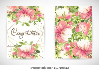 Floral template greeting card, garden flower pink peonies, green leaves, gold decor. Trendy decorative layout. Vector illustration