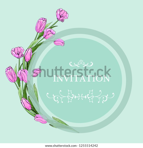 Floral template for invitation with circle and pink tulip flowers. Hand drawn sketch on light green background. Vector illustration.
