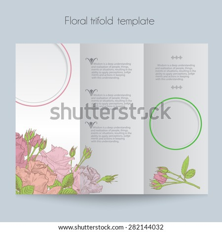 Floral Template Trifold Mock Brochure Menu Stock Vector Royalty