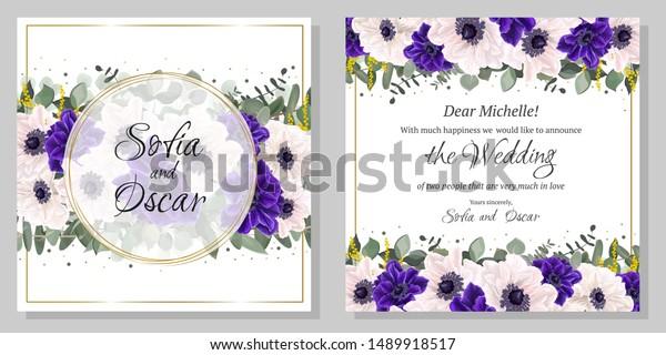 Floral Template Wedding Invitation Border Blue Stock Vector ...