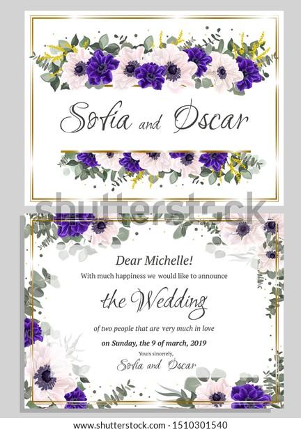 Floral Template Wedding Invitation Border Blue Stock Image ...