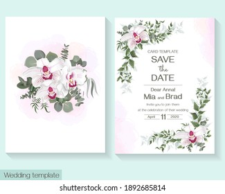 Floral template for wedding invitation. Pink royalty ohrchid, watercolor background, eucalyptus.