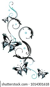 Floral tendril with many butterflies. Water Style.