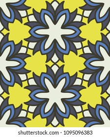 Floral textile print. Seamless pattern moroccan ornament. Islamic vector design. Oriental background with abstract flowers. Hexagonal trefoil swatch. Stained glass vitrage.