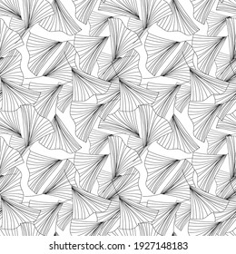 Floral thin line seamless pattern. Lined leaves texture background, endless leaf tile wallpaper
