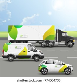 Floral transport advertising design with green leaves. Templates of the truck, bus and passenger car. Corporate identity