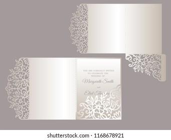 Floral tri fold invitation template.  Wedding invite envelope.