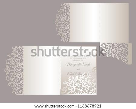 floral tri fold invitation template wedding stock vector royalty