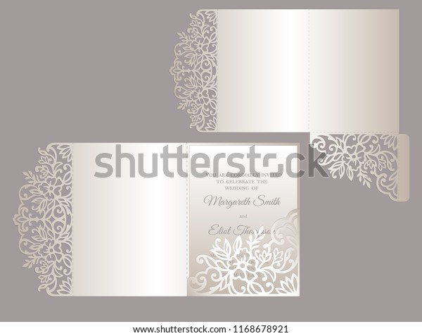 Floral Tri Fold Invitation Template Wedding Stock Vector Royalty