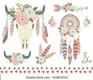 Floral Tribal Indian Elements