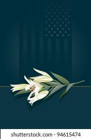 Floral tribute. Pure white lilies laid against a subtle patriotic background.