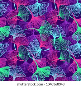 Floral Tropical Flowers and Leaves background in neon colors, bright print for textile, cloth, wallpaper, scrapbooking, wrapping. Vector seamless pattern