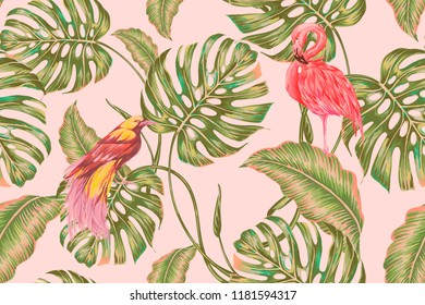 Floral tropical seamless vector pattern background with jungle leaves, monstera tree, pink flamingo, bird of paradise, exotic birds. Botanical gentle illustration wallpaper