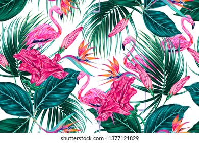 Floral tropical seamless vector pattern background with exotic flowers, palm leaves, jungle leaf, hibiscus, bird of paradise flower, pink flamingos. Botanical wallpaper illustration in Hawaiian style