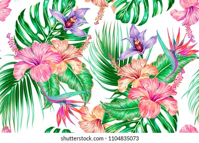 Floral tropical vector seamless pattern, summer background with exotic flowers, palm leaves, jungle monstera leaf, orchid, strelitzia, bird of paradise flower. Botanical gentle illustration