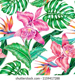 Floral tropical vector seamless pattern background with exotic flowers, jungle leaves, monstera leaf, orchid, bird of paradise flower. Hawaiian botanical illustration wallpaper