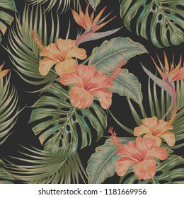 Floral tropical vector seamless pattern background with exotic flowers, palm leaves, jungle monstera leaf, strelitzia, bird of paradise flower. Vintage botanical wallpaper illustration, Hawaiian style