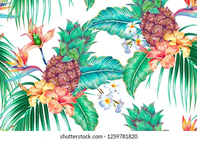 Floral tropical vector seamless pattern background with pineapples, exotic flowers, palm leaves, jungle leaf, orchid, bird of paradise flower. Botanical gentle illustration in Hawaiian style