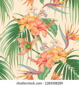 Floral tropical vector seamless pattern background with exotic flowers, palm leaves, jungle leaf, orchid, strelitzia, bird of paradise flower. Botanical vintage gentle wallpaper illustration