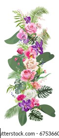 Floral tropical vertical border of roses, carnations, orchids, pink, red, purple flowers, green leaves of coconut palm, twigs and berries. Digital draw in watercolor style, concept for design, vector