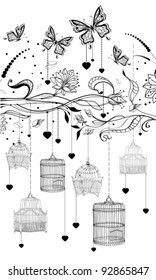 Floral Valentine background with cages,vector  illustration