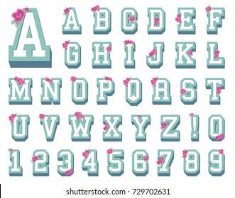 Floral Varsity University Collegiate Decorative Font Letters