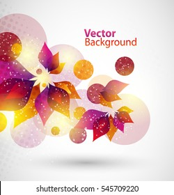 Floral vector abstract background. Colorful flowers and leafs. Eps 10