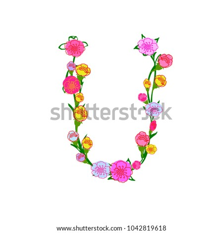 Floral Vector Alphabet Letter U Isolated Stock Vector Royalty Free