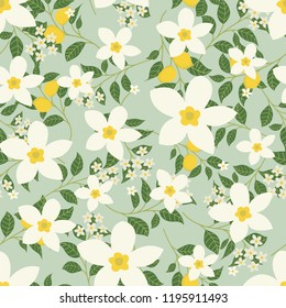 Floral vector artwork for apparel and fashion fabrics, Jasmine flowers and lemon in wreath ivy style with branch and leaves. Seamless patterns background.
