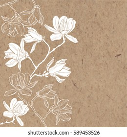Floral vector background. Branches with flowers of magnolia on kraft paper. Invitation or greeting card.