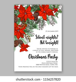 Floral vector background for christmas party invitation wedding invitation bridal shower baby shower christening baptism birthday card anniversary poinsettia rose winter holiday wreath