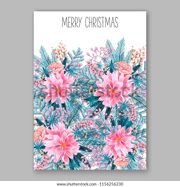 Christmas Christening.Floral Vector Background Christmas Party Invitation Stock