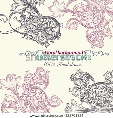 floral vector background engraved ornaments ideal stock vector