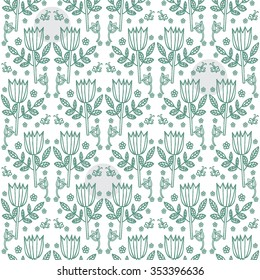 Floral vector background. Seamless pattern with hand drawn flowers. Move: horizontal - 100px, vertical - 500px